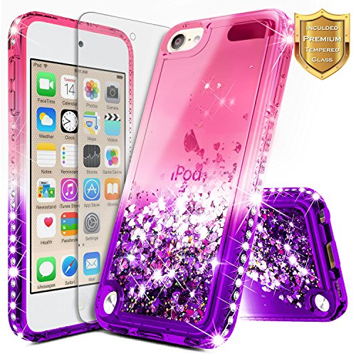 iPod 5 / iPod 6 Case, iPod Touch 5th / 6th Generation Case w/[Tempered Glass Screen Protector], NageBee Glitter Liquid Quicksand Waterfall Flowing Sparkle Bling Diamond Girls Cute Case -Pink/Purple