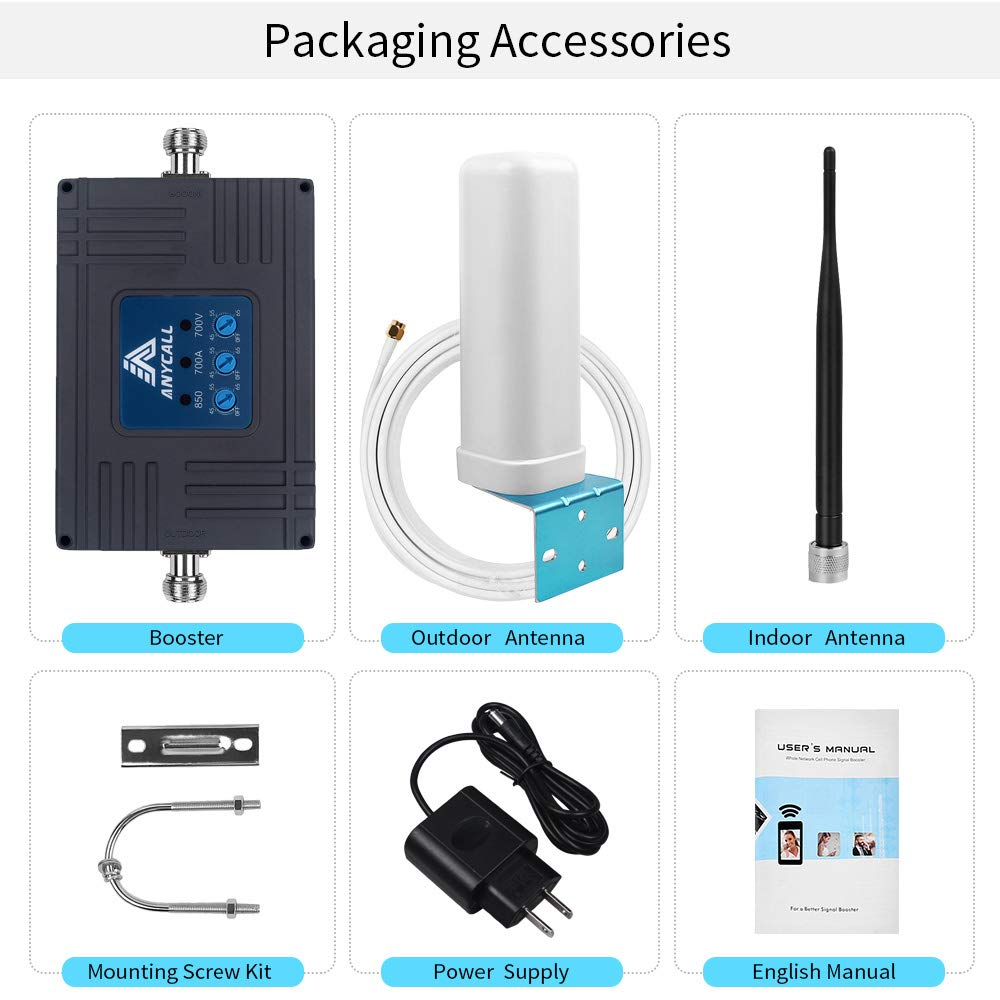 Band 2//4//5//12//13//17 Car Motorhome Multiple Band Repeater Kit for All Carriers 2G 3G 4G LTE Voice Calls and Data. Bus Truck Boats Cell Phone Signal Booster for RV Small Cabin /& Camp Use