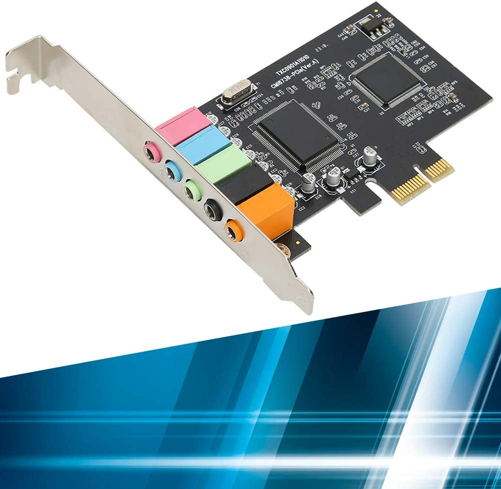 Heayzoki Tarjeta de Sonido 6 Canales CMI8738 Chip PCI-E 5.1 Accesorio de Audio est/éreo Tarjeta de Sonido Independiente incorporada Plug and Play Tarjeta de Sonido Envolvente 5.1 para Windows 98//XP