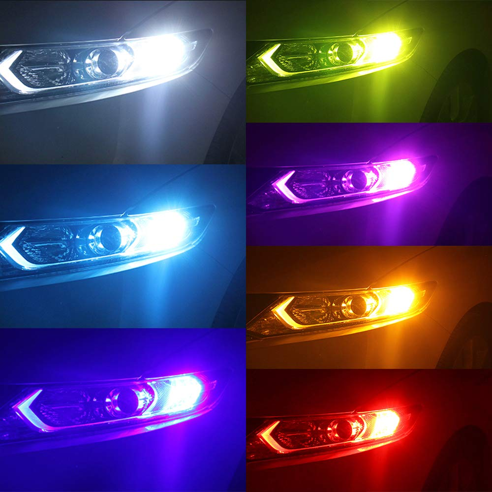 T10 168 194 W5W LED Bulb RGB Amber Yellow White Blue Red RF Remote 3535 SMD Dome License Plate Map Trunk Reading Side Marker Wedge Lights for Car Replacement Bulbs 12V 6W 1 Year Warranty 2 Pack【1797】