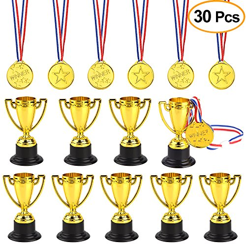- FEPITO 30 Pcs Trophies Medals Set 10Pcs Gold Plastic Trophy Cup and 20Pcs Winner Medals for Kid Party Sports Awards