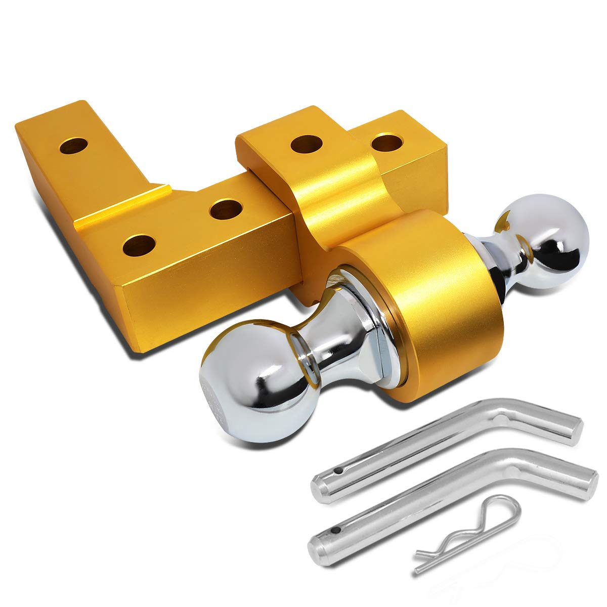 DNA Motoring Gold HITCH-ALU-002-GD 2.4 Wide Aluminum Towing Winch Swivel Recovery Hook