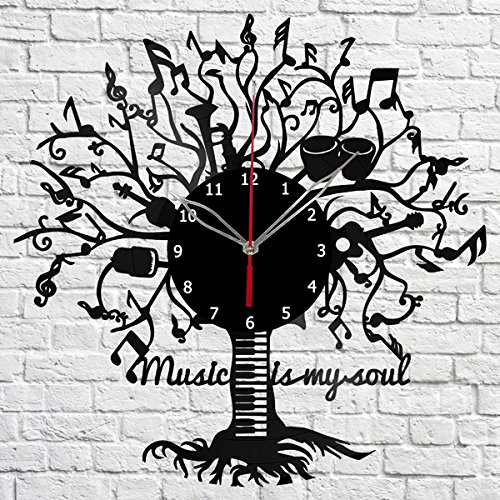 Music is my soul Vinyl Record Wall Clock Fan Art Handmade Decor Original Gift Unique Decorative Vinyl Clock 12