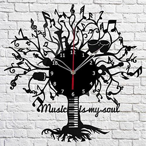 Music is my soul Vinyl Record Wall Clock Fan Art Handmade Decor Original Gift Unique Decorative Vinyl Clock 12