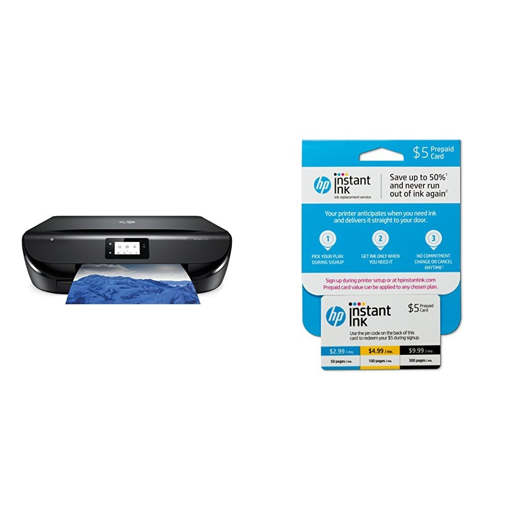 HP ENVY 5055 All-in-One Photo Printer with Wireless Printing (M2U85A) and Instant Ink Prepaid Card for 50 100 300 Page per Month Plans (3HZ65AN)