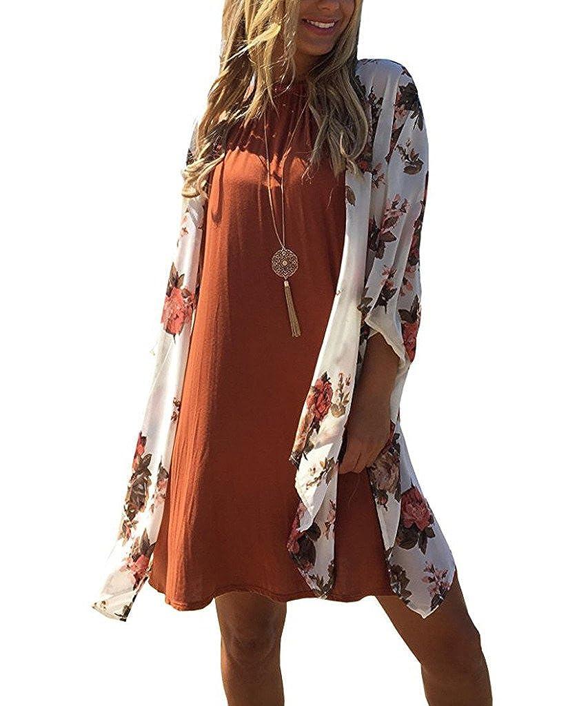72ba34e22c5d5 AELSON Women's Floral Chiffon Kimono Cardigan Blouse Beach Cover up  C247626801