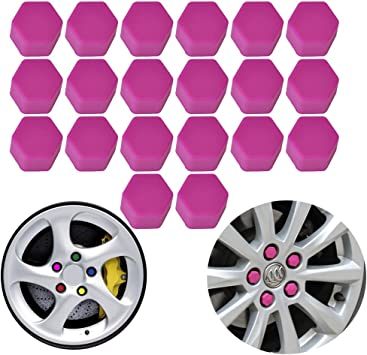 20pcs Purple 19mm Car Wheel Lug Nut Cap Tyre Hub Screw Bolt Dust Cover Protector