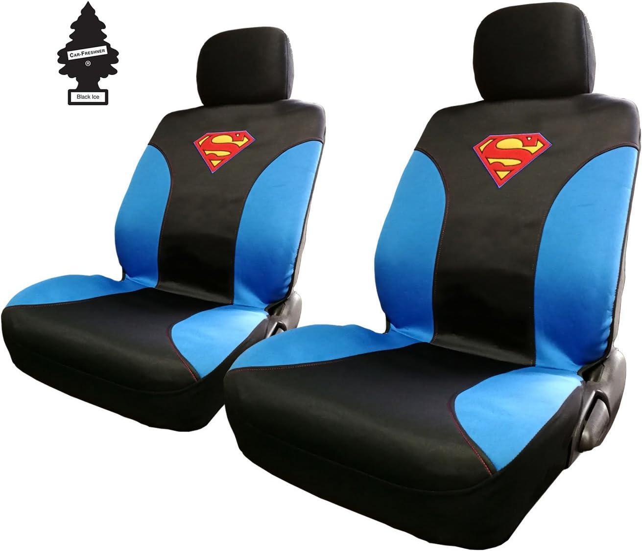 Yupbizauto Pair of New DC Comic Superman Sideless Neoprene Waterproof Car Seat Covers with Air Freshener