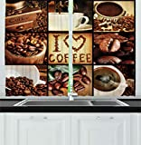 Ambesonne Brown Kitchen Curtains, I Love Coffee Theme Collage Roasted Beans Brewing Machines and Cups Aromatic Drink, Window Drapes 2 Panels Set for Kitchen Cafe, 55W X 39L Inches, Brown White