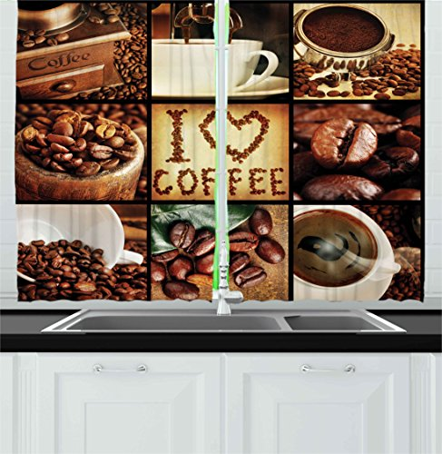 Brown Kitchen Curtains by Ambesonne, I Love Coffee Theme Collage Roasted Beans Brewing Machines and Cups Aromatic Drink, Window Drapes 2 Panels Set for Kitchen Cafe, 55W X 39L Inches, Brown White