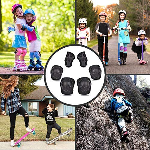 eNilecor Kid\'s Knee Pads Elbow Pads Wrist Guards for Skateboarding Cycling Inline Skating Roller Blading Protective Gear Pack of 6 (Hot Pink/Black, S)