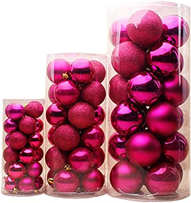 24Pcs Beautiful Christmas Ball Ornaments 4 Styles Frosted, Flash Powder, Shiny, Mist side ball (Rose, 4cm)