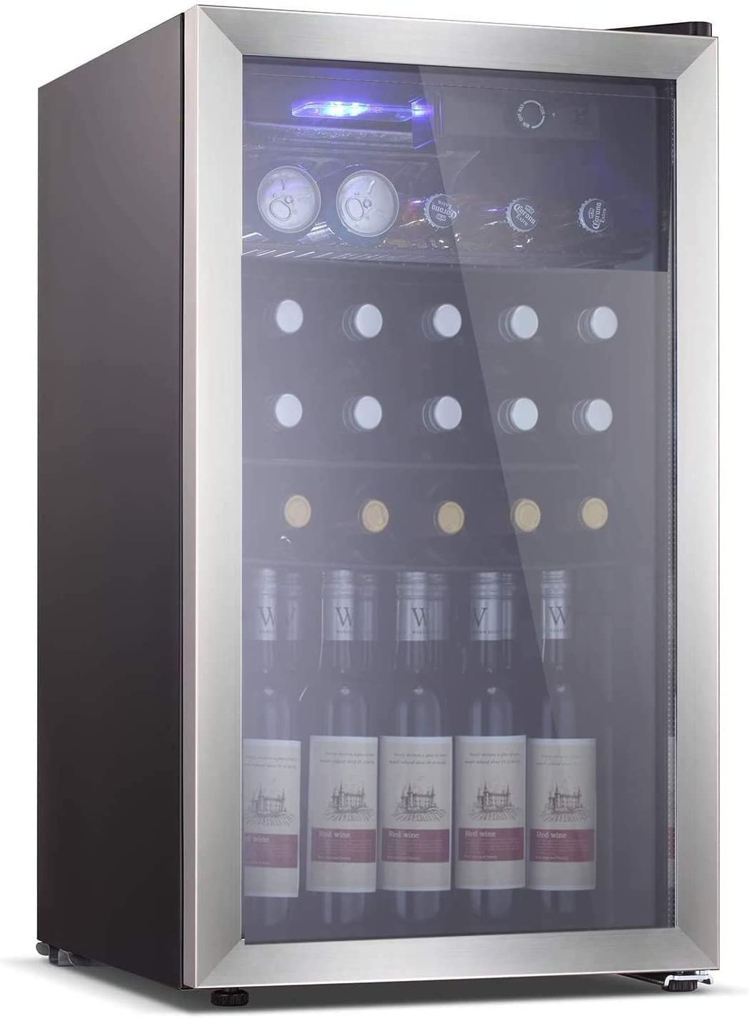 Electactic 26 Bottle Wine Cooler/Cabinet Mini Wine Fridges 130 Can Beverage Refrigerators Small Wine Refrigerator Freestanding Wine Cellar for Red & White Wine Beer 40-61℉ Temperature Control Black