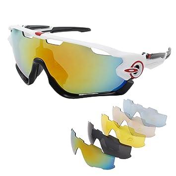 Unisex Gafas de sol outerdo Sport Gafas Ojo Protección Wind Densidad Glaser con 5 lente de