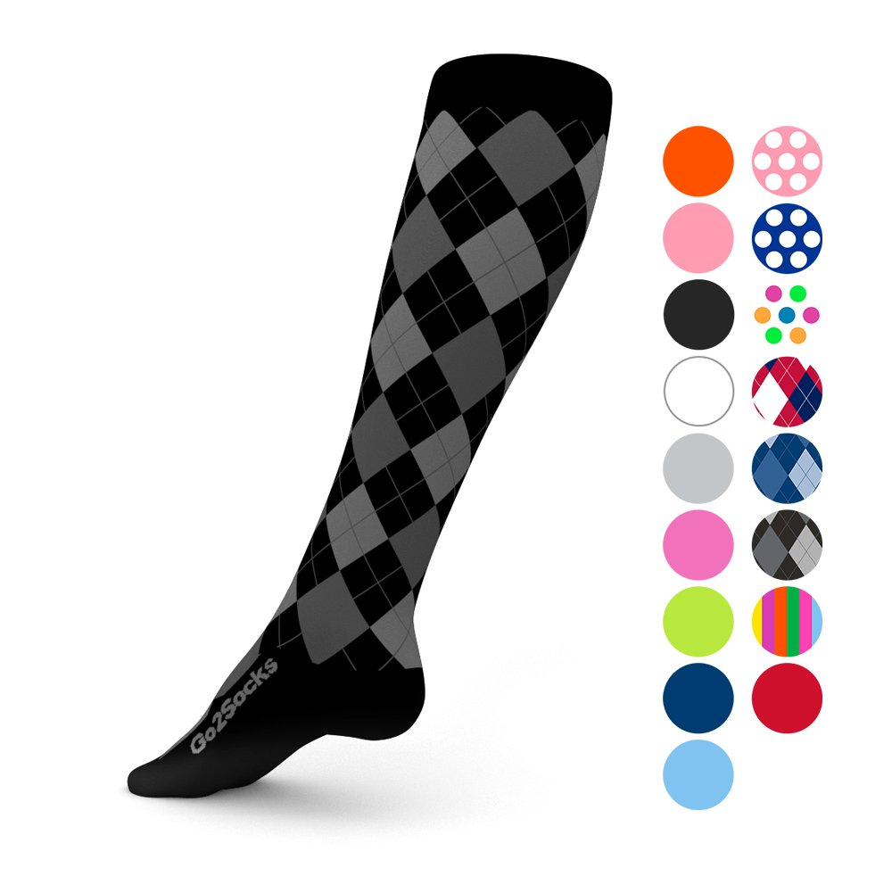 Go2Socks Compression Socks for Men Women Nurses Runners 20-30 mmHg (high) - Medical Stocking Maternity Travel - Best Performance Recovery Circulation Stamina - (BlackArg,XL) by Go2Socks (Image #1)