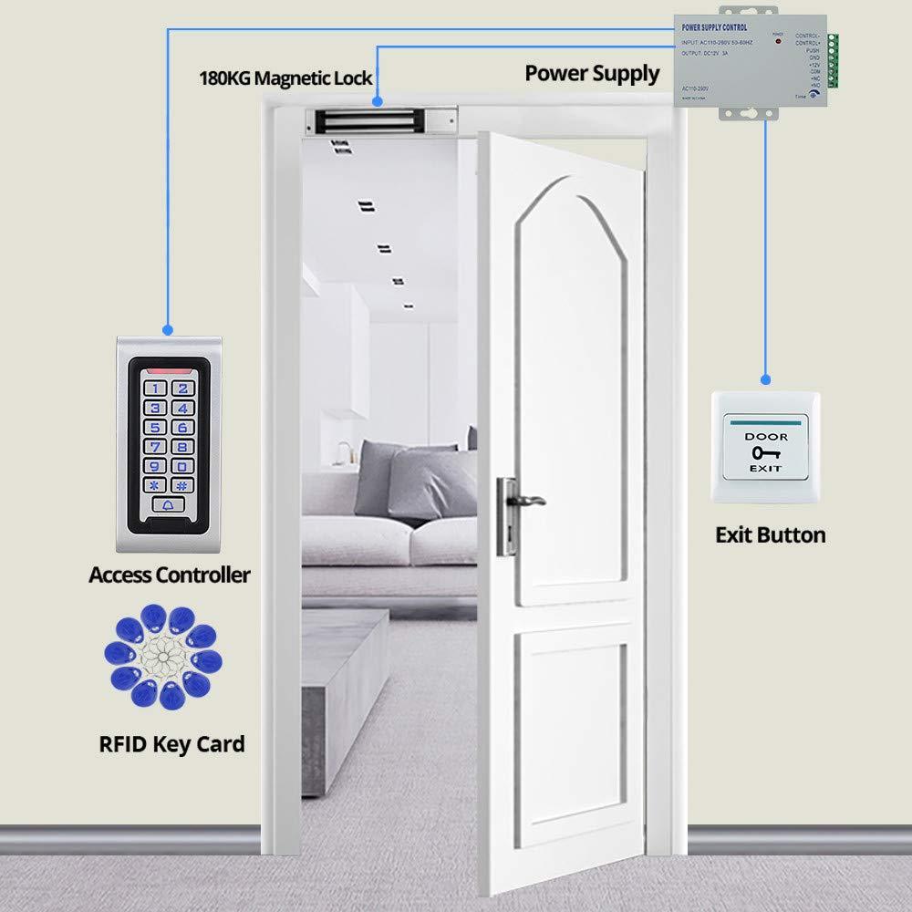 NN99 IP68 Impermeable RFID Teclado de Control de Acceso Exterior + 280KG / 600lbs Cerradura Magnética Eléctrica + Fuente de Alimentación 10 Llaves Sistema de Cerraduras de Puerta: Amazon.es: Industria, empresas y ciencia