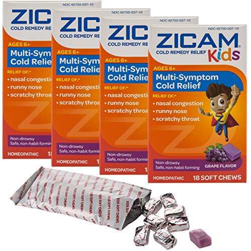 Zicam (72 Count) Cold Remedy For Kids Relief Zinc Grape Soft Chewable Tablets - Best Natural Cold Remedy