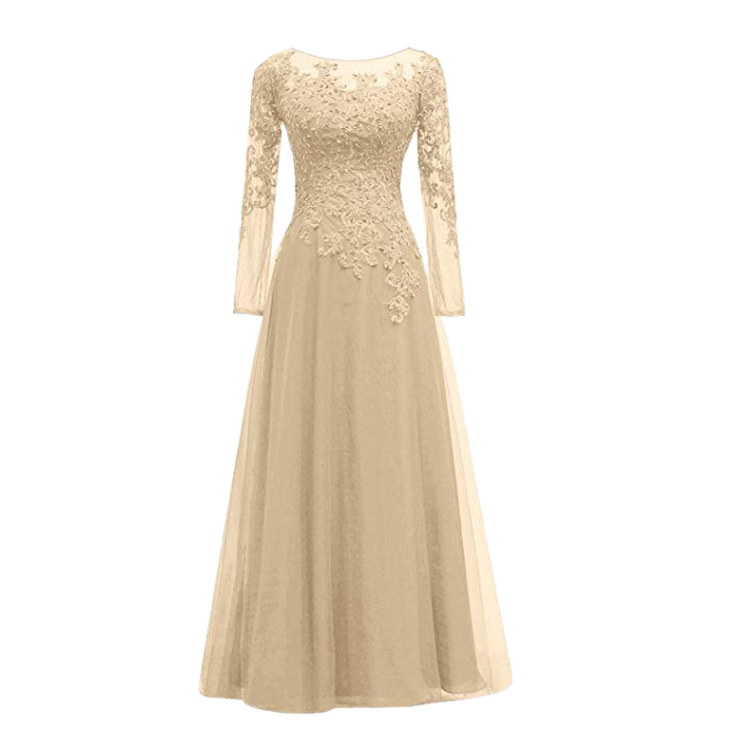 BridalAffair Women's Appliques Tulle Mother of The Bride Dress Long Sleeves Evening Formal Gown