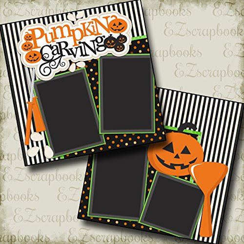 PUMPKIN CARVING - HALLOWEEN - Premade Scrapbook Pages - EZ Layout 2157 for $<!--$4.99-->