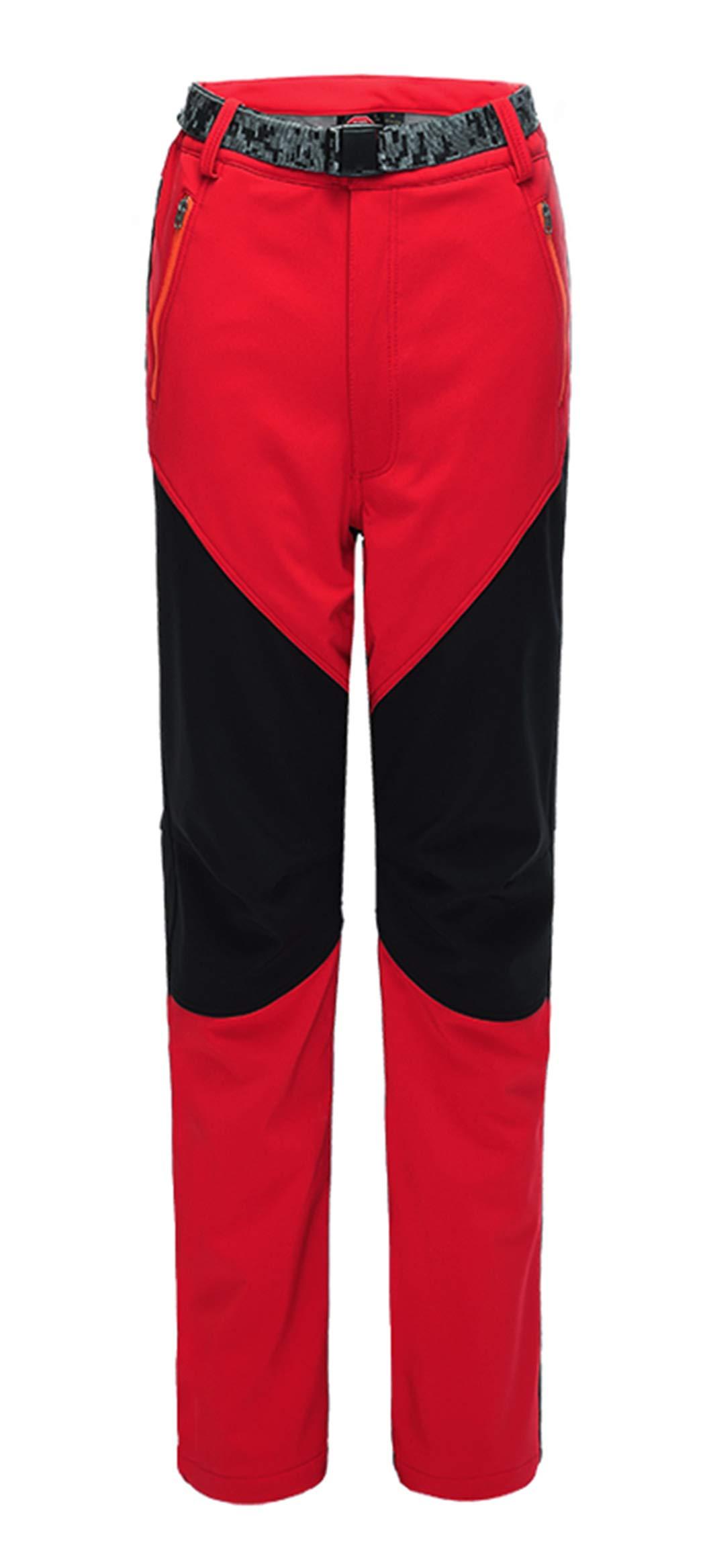 CATERTO Women's Outdoor Windproof Waterproof Softshell Fleece Snow Pants Red M/TagXL by CATERTO