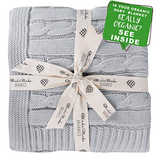 Organic Baby Blanket GOTS Certified Organic Cotton Baby Blanket Hypoallergenic Super Soft Cozy All Season Lightweight Cable Knit Unisex Boys Girls Nursery Toddler Daycare Stroller Blanket (30x40 Grey)