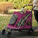 Pet Gear NO-Zip Stroller - Push Button Zipperless Dual Entry - for Single or Multiple Dogs Cats - Pet Can Easily Walk in Out - No Need to Lift Pet