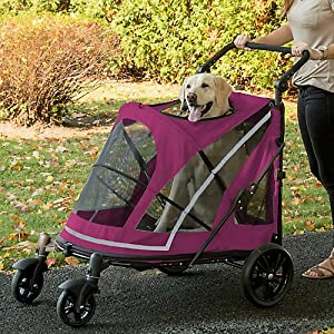 Pet Gear NO-Zip Stroller, Push Button Zipperless Dual Entry, for Single or Multiple Dogs/Cats, Pet Can Easily Walk in/Out, No Need to Lift Pet 4