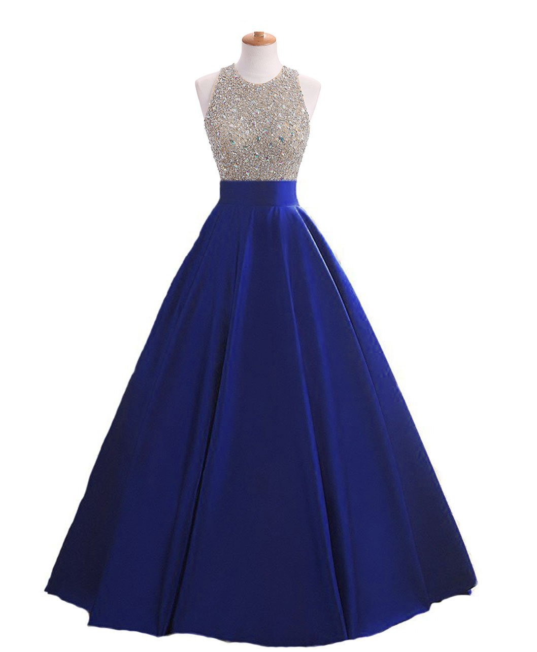 HEIMO Women's Sequins Keyhole Back Evening Ball Gown Beaded Prom Formal Dresses Long H095 20W Royal Blue
