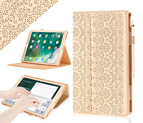 Price comparison product image iPad Pro 12.9 (Compatible with 2017 and 2015 Model) Case,  WWW [Luxury Laser Flower] Premium PU Leather Case Protective Cover with Auto Wake / Sleep Feature for iPad Pro 12.9 (Both 2017 and 2015) Gold