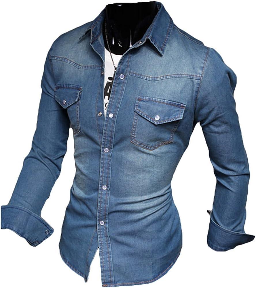 Camisa de Mezclilla Ajustada y de Manga Larga para Hombre De Moda Slim Fit Camisas Solapa Tops Azul Lavado Shirts M - 5XL: Amazon.es: Ropa y accesorios