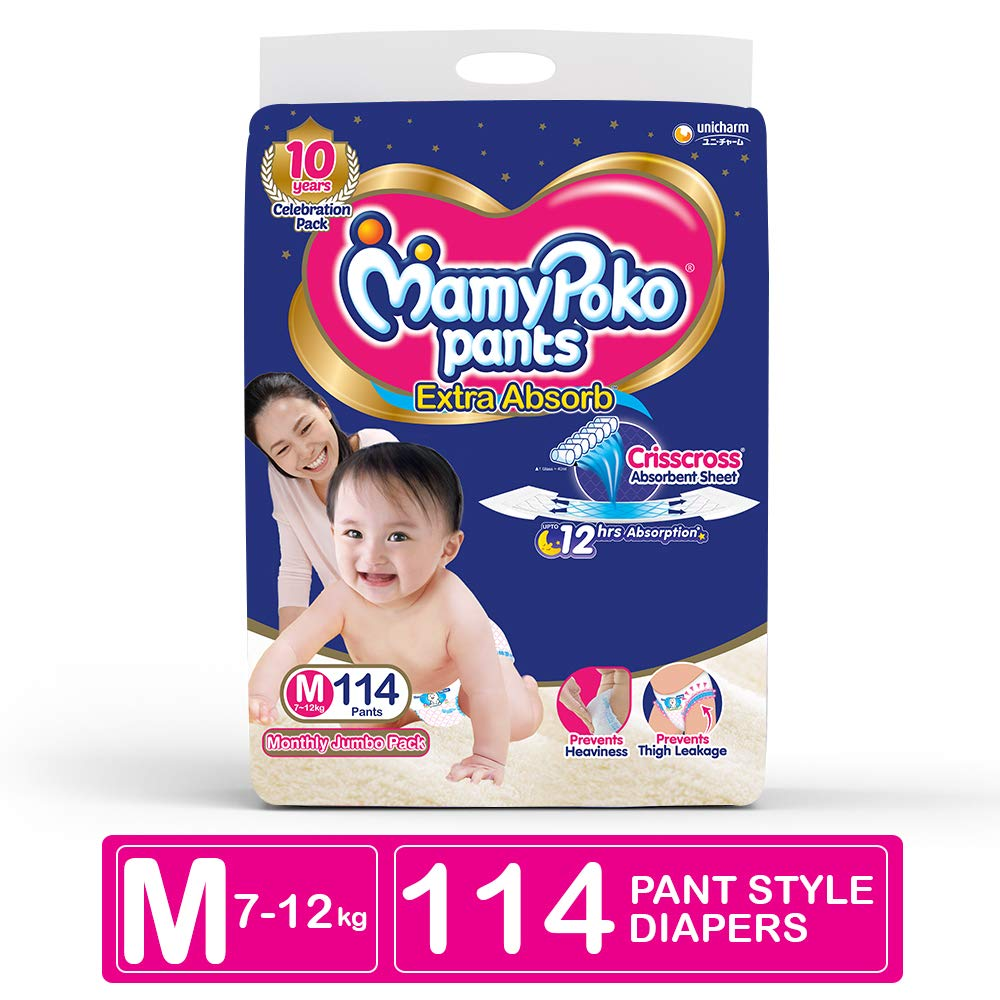 MamyPoko Pants Extra Absorb Diapers Monthly Pack, Medium (Pack of 114)