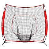 SONGMICS Baseball Net, Portable Softball Net, with Carry Bag, Ground Stakes, for Hitting and Batting Practice, Red, USBN77RD
