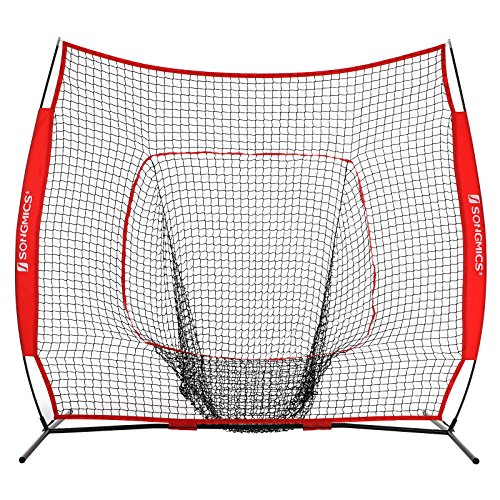 SONGMICS Baseball Net, Portable Softball Net, with Carry Bag, Ground Stakes, for Hitting and Batting Practice, Red, USBN77RD by SONGMICS