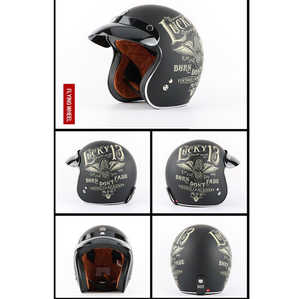 Amazon.com : Tewin Helmet Casco Capacete Vintage Motocross Helmets Moto Cafe Racer Motorcycle Scooter 3/4 Retro Open Face Motocicleta Cacapete : Sports & ...