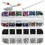 Best Quality Professional Nail Art Set Kit With White Wax Rhinestones Picker Pencil, 1500 2mm