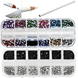 Best Quality Professional Nail Art Set Kit With White Wax Rhinestones Picker Pencil, 1500 2mm Round Black And Silver Crystals In Box And 1500 Mixed Colors Gemstones In Storage Case By VAGA