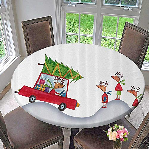 Mikihome Simple Modern Round Table Cloth Reindeer mily Ther in Retro Red Car andTree Kids Doodle Drawing Artsy 35.5