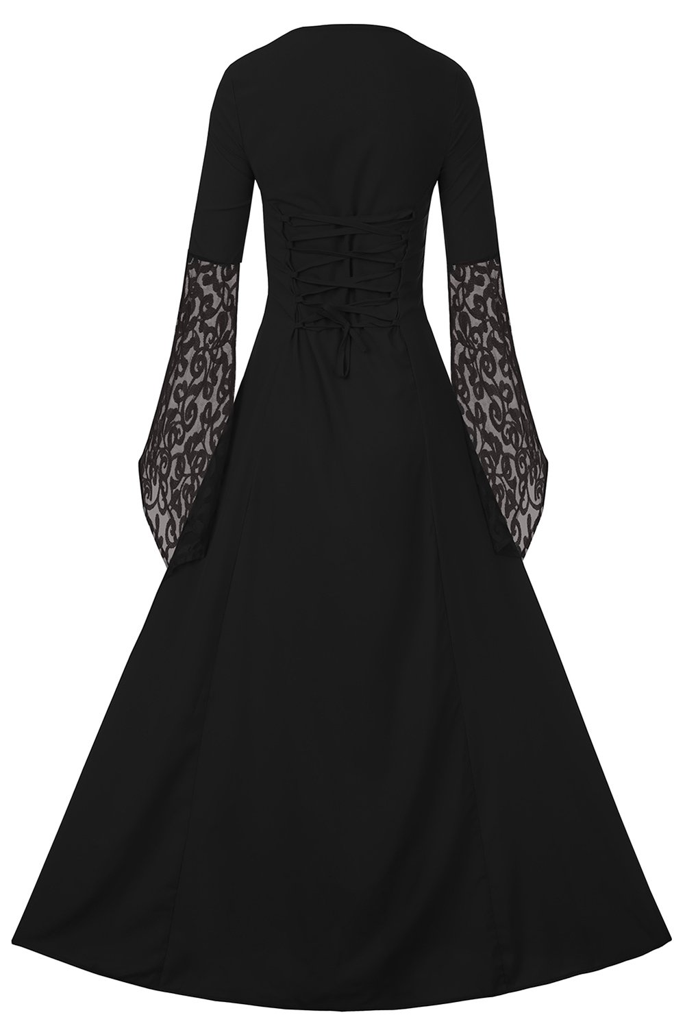 EastLife Women's Halloween Costumes Renaissance Medieval Dress Lace Up Vintage Floor Length Long Witch Dresses, Black, XXL by EastLife (Image #2)