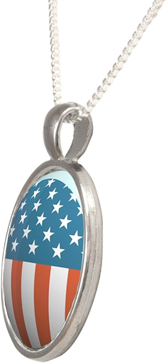Arthwick Store American Flag Inside a Circle Vector Illustration Pendant Necklace