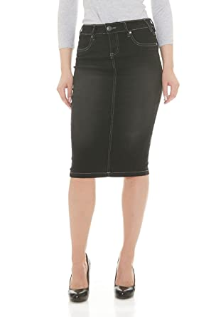 Esteez Jean Skirt for Women Powerstretch Denim with Tummy Control ...