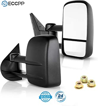 Towing Mirrors,Driver and Passenger Exterior Manual Chevy Tow Mirrors Pair Replacement fit for Chevy Silverado GMC Sierra Pickup Truck 1999 2000 2001 2002 2003 2004 2005 2006 ECCPP 050257