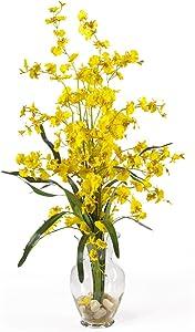 "Nearly Natural 1073-YL Dancing Lady Liquid Illusion Silk Flower Arrangement, Yellow,29"" x 10.25"" x 10.25"""