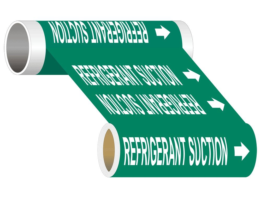 Refrigerant Suction (White Legend On Green Background) ASME A13.1 Pipe Label Decal, 8 inch x 30 ft. with 0.75 inch Letters on Vinyl by ComplianceSigns