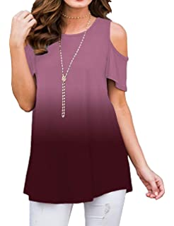 7b768126d2a08d Sedimond Women's Cold Shoulder Casual Short Sleeve Tunic Tops Loose Blouse  Shirt S-2XL