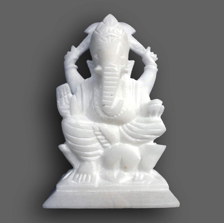 Amazon Com 5 White Indian Marble Stone Pooja Puja Ganesh Ganesha