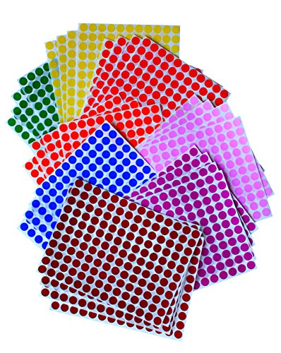 "KIDS COLORED ROUND DOTS 3/8 "" inch (0.375"") 8 COLORS - 32 SHEETS -10mm - Arts, Crafts, Fun and Games Stickers - 4832 PACK"