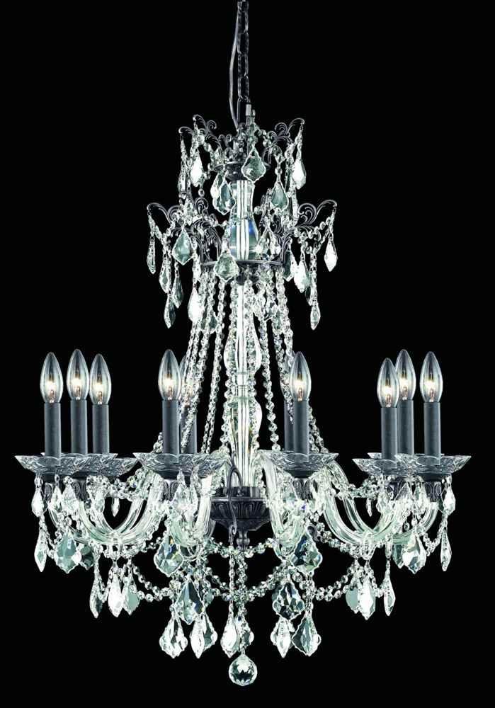10-Light Chandelier in Dark Bronze by Elegant Lighting