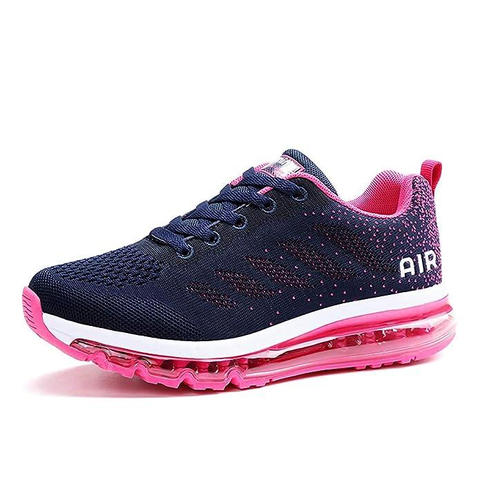 frysen Herren Damen Sportschuhe Laufschuhe mit Luftpolster Turnschuhe Profilsohle Sneakers Leichte Schuhe Blue Plum 40