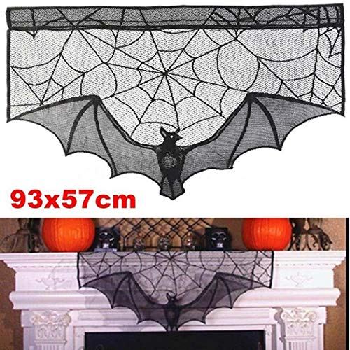 villeur Halloween Warp Knitting Lace Black Spider Web Bat Fireplace Cloth Confetti
