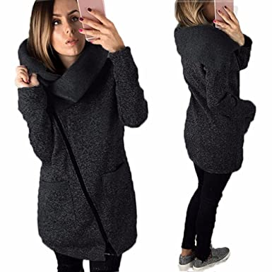 9ef9cab736f Paymenow Womens Winter Coat Plus Size Turtleneck Zipper Jacket Outwear with  Pocket (Dark Gray